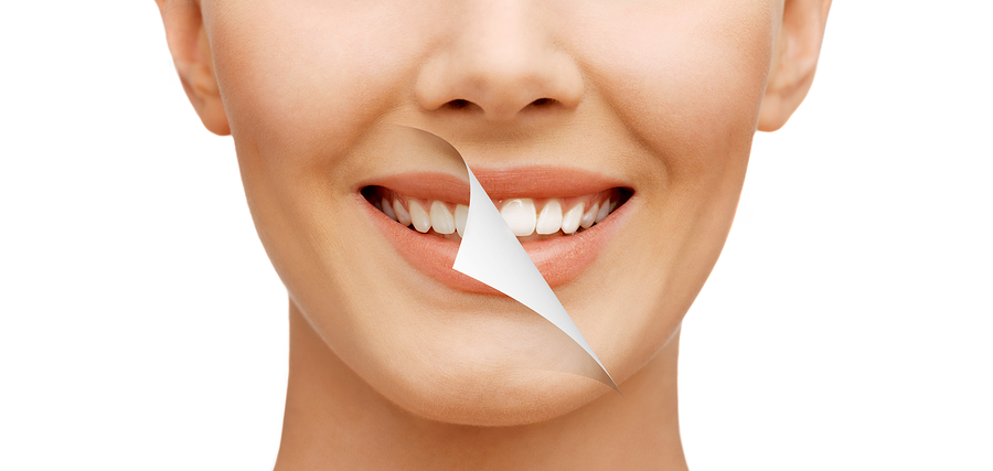 beauty and dental health concept - beautiful woman with white te